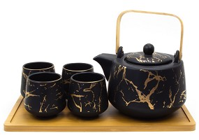 Gold Marble | 26 oz Modern Style Teaset With Tray