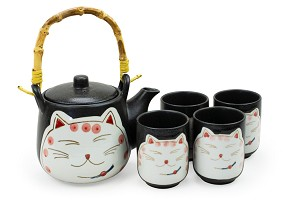 Happy Cat Pink on Black | Tea Set with Bamboo Handle