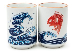 Red Sea Bream/Waves | Japanese Ceramic Cup