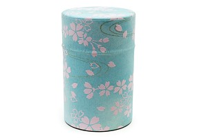 Pink Flowers on Blue 100g | Paper Tea Canister