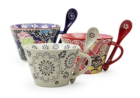 Patterned Tea Cup with Spoon 14oz | Multiple Designs