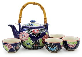 Purple with Peony Flowers | Tea Set with Bamboo Handle