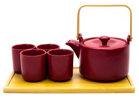 Matte Red | 26 oz Modern Style Teaset With Tray