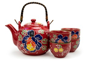 Red with Blue Flower | Tea Set with Bamboo Handle