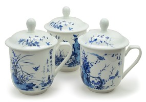 Blue Bird / Seasons | Porcelain Mugs with Lid