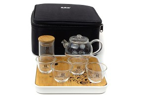 Large Travel Glass Tea Set